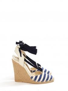 Sandales espadrilles compensées en toile blanche rayée bleu marine Prix boutique 450€ Taille 38,5