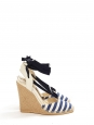 Sandales espadrilles compensées en toile blanche rayée bleu marine Prix boutique 450€ Taille 39