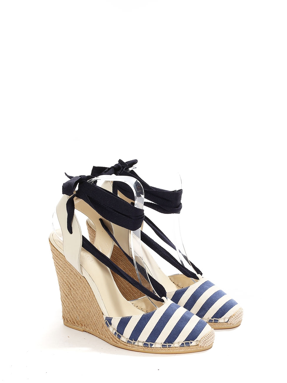 a2d52d97ea ... Espadrilles Wedge Sandals Retail 450 Size 38 5. Louise Paris Gucci  Ivory White And Navy Blue Striped Canvas