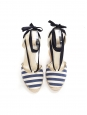 Ivory white and navy blue striped canvas espadrilles wedge sandals Retail price €450 Size 38.5