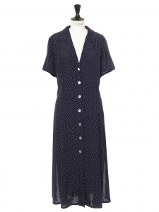 Dark blue and white polka dot printed v neck midi dress Size 38