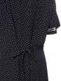 Robe longue col v bleu marine imprimé pois blanc manches courtes et boutons nacre Taille 38
