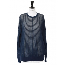 Navy blue cotton crepe oversize jumper Retail price €660 Size 36 to 38