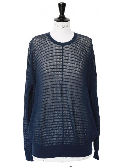 Pull oversize en crêpe de coton bleu marine Prix boutique 660€ Taille 36 à 38