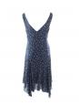 Robe en soie fleurie bleu marine décolleté V bretelles larges Prix boutique 300€ Taille 36