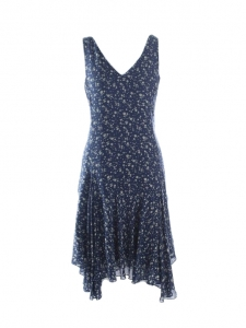 Navy blue and beige flower print silk dress with v neckline and large straps Retail price €300 Size S