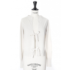Cream white fine cotton cardigan with ribbons Retail price €350 Size 36/38