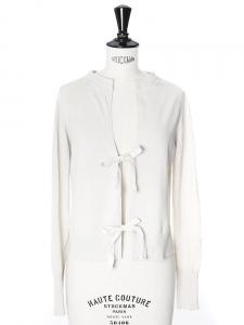Gilet cardigan en coton fin beige nacre et rubans Px boutique 350€ Taille 36/38