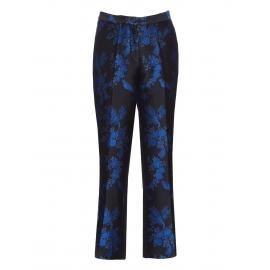 Pantalon EATON en brocard fleuri noir et bleu roi Prix boutique 774$ Taille 36