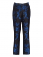 Pantalon en brocard fleuri noir et bleu roi Prix boutique 774$ Taille 36