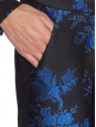 Royal blue and black floral-brocade cropped trousers Retail price $774 Size 36