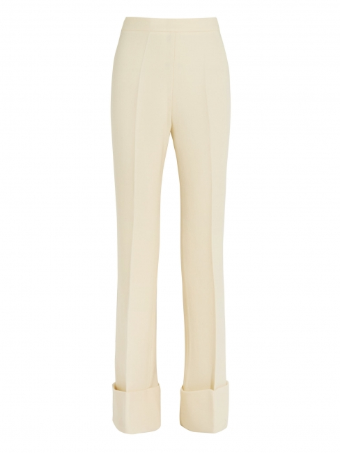DAKOTA Ivory white wool blend crepe flared pants Retail price $910 Size 36/38