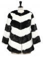 Black and white striped faux fur coat NEW Retail price €260 Size M