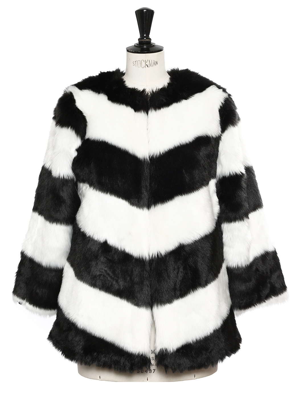 e546e0f97e Louise Paris - GESTUZ Black and white striped faux fur coat NEW ...