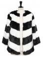 Manteau en fausse fourrure noir et blanc NEUF Prix boutique 260€ Taille 38
