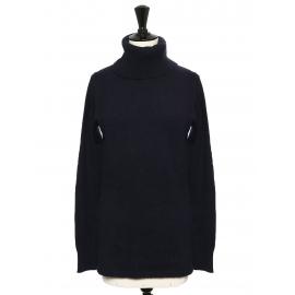 Pull col roulé en cachemire bleu nuit Prix boutique 350€ Taille 36