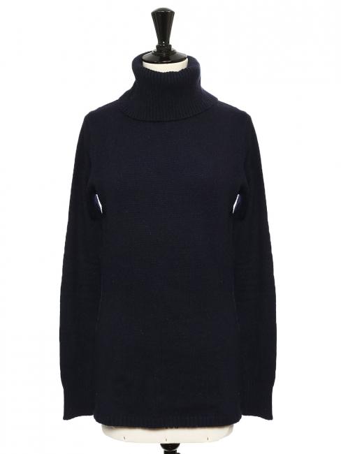 Midnight blue cashmere wool turtleneck sweater Retail price €350 Size 36