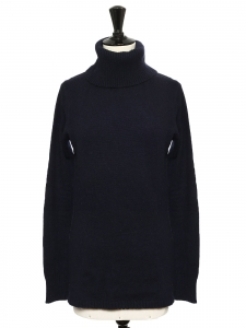 Navy blue pure new wool turtleneck fine sweater NEW Size 38
