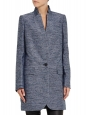 BRYCE boucle heather blue silk and cotton structured spring coat Retail price $1,585 Size 36