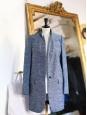 Manteau veste BRYCE bouclé en coton et soie bleu chiné Prix boutique $1,585 Taille 36