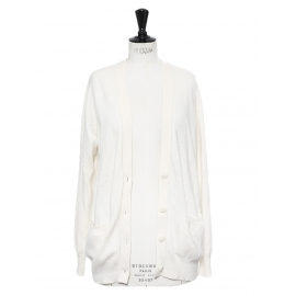 Gilet cardigan en pur cachemire blanc neige Prix boutique 350€ Taille M