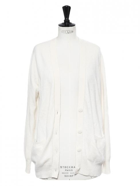 Ivory white cashmere cardigan Retail price €350 Size M