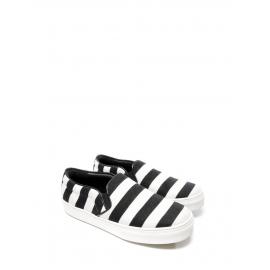 Baskets slippers en tissu et cuir rayé noir et blanc Prix boutique $670 Taille 39