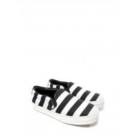 Black and white striped canvas and leather slippers sneakers Retail price $670 Size 39
