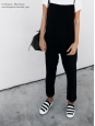 CELINE Black and white striped canvas slippers sneakers Retail price $670 Size 39