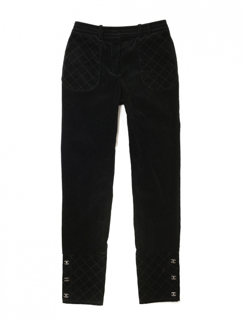 High waist slim fit black corduroy pants Retail price €1000 Size 36