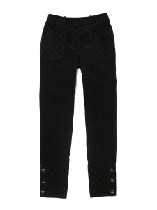 High waist slim fit black corduroy pants Retail price €1000 Size 36