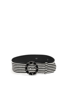 Black and white striped velvet belt Retail price €800 Size 40