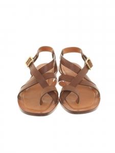 Sandales plates bride cheville en cuir marron fauve Px boutique 650€ Taille 36