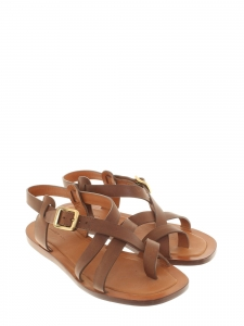 366abf93551e Camel brown leather ankle strap flat sandals Retail price €650 Size 36