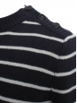 Midnight blue and beige striped cashmere and virgin wool sweater Retail price €600 Size 36