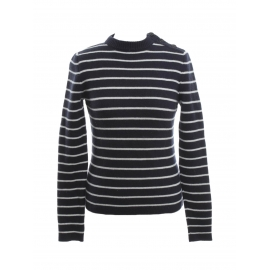 Navy blue and white striped cashmere wool sweater Retail price €900 Size 36