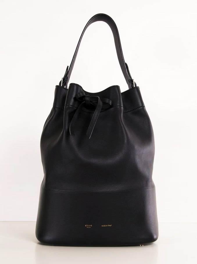 Louise Paris - CELINE Black leather Seau Drawtring bucket bag Retail ... eebaef9fa14a7