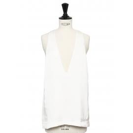 White silk plunging v neck sleeveless top Retail price €700 Size 36