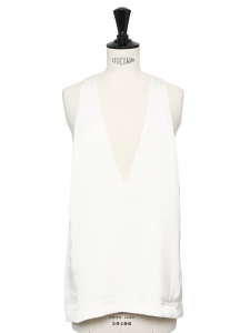 White silk plunging v neck sleeveless top Retail price €700 Size 36