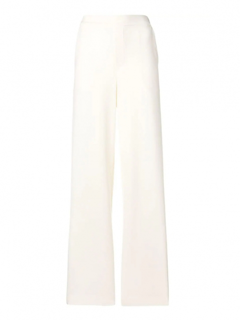 Ivory white crepe fluid elasticated waist pants Retail price €180 Size S