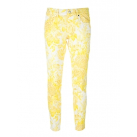 Yellow and white floral print skinny jeans Retail price €475 Size XS