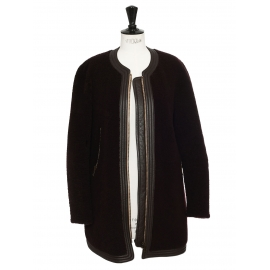 Black and prune shearling coat Retail price €3500 Size 38
