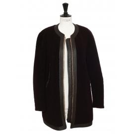 Manteau shearling en peau lainée noir et prune Prix boutique 3500€ Taille 38