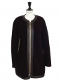 CHLOE Black and prune shearling coat Retail price €3500 Size 38