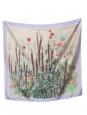 Foulard carré en twill de soie imprimé fleuri mauve vert rouge et bordeaux