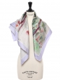 Floral print silk twill square scarf in light purple, green, burgundy, red and beige hues