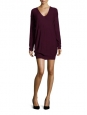 Plum purple virgin wool V neck knitted dress Retail price €500 Size 36
