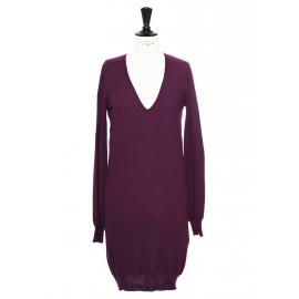 Robe en maille col V en laine vierge violet prune Prix boutique 500€ Taille 36