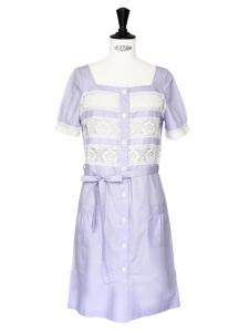 Robe en coton mauve et dentelle blanche Px boutique 330€ Taille 36