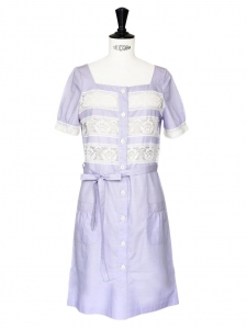 White lace and mauve cotton dress Retail price €330 Size 36